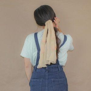 (156) vtg 60s silk peach neck scarf hair tie